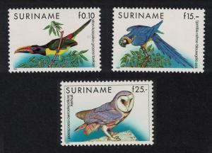 Suriname Aracari Macaw Owl Birds 3v SG#1472-1474+1542 CV£70+