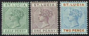 ST LUCIA 1891 QV 1/2D 1D AND 2D DIE II