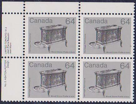 Canada - 1984 64c Wood Stove UL Plate 2 Block mint #932i  VF-NH