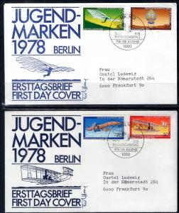 Germany Berlin 9NB142-9NB145 Airplanes Set of Two Typed FDCs