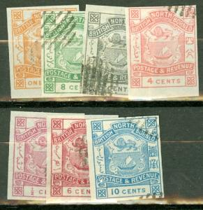 North Borneo 35-6, 39-43 used imperf CV $31.50