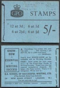 H37b Jan 1959 5/- Booklet CCCEC 3d Cyl K7 no Dot