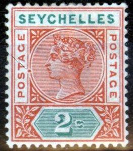 Seychelles 1893 2c Orange-Brown & Green SG28Var Hyphen on Circle Line Fine Light