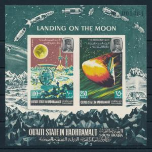 [95534] Aden Qu'aiti State Hadhramaut 1967 Space Travel Moon Imperf. Sheet MNH