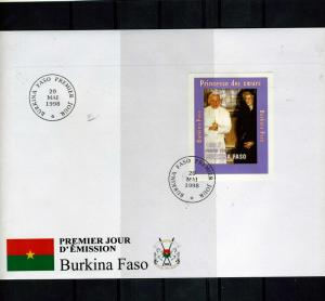 Burkina Faso 1998 Pope John Paul II Princess Diana Deluxe s/s in official FDC
