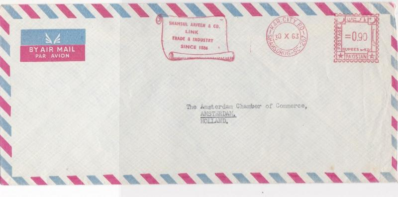 Pakistan 1963 Scroll Arfeen & Co. Slogan A/mail Meter Mail Stamps Cover Ref29330