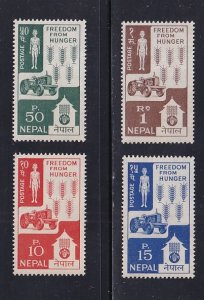 Nepal  #159-162  MNH  1963  freedom from hunger