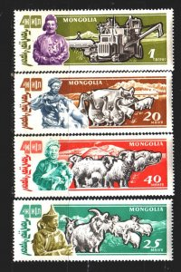Mongolia. 1961. 245-50 from the series. Agriculture, pets. MNH.