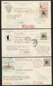#832-834 ON A. E. OWENS HAND PAINTED CACHET FDC AUG 29,1938 -- RARE -- WLM4275