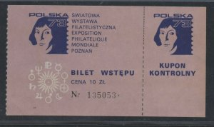 1973 Poland Stamp Exhibition Ticket POLSKA 73 Unused