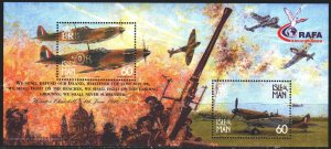 Isle Of Man. 2000. bl40. Military aircraft, anti-aircraft guns. MNH.