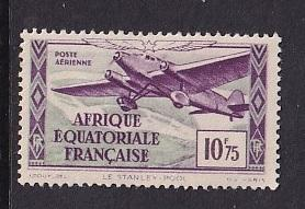 French Equatorial Africa   #C8   MH  1937 Air  trimotor plane  10.75fr