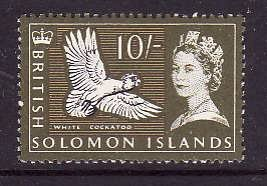 Solomon Is.-Sc#141-unused NH 10sh olive green and yellow-Birds-1965-