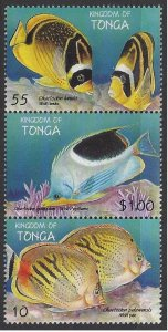 Tonga #1008 MNH strip of 3, various fish, issued 1998