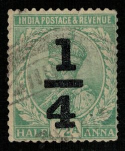 India, overprint 1/4, 1/2 Anna, King George V (T-6072)