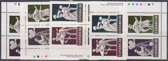Canada USC #1255a Mint MS Imprint Blocks - Vf-NH Cat. $16. 1989 Performing Arts