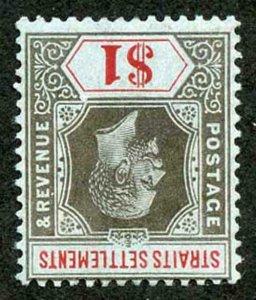 Straits Settlements SG210w One Dollar wmk Mult Crown CA INVERTED M/Mint