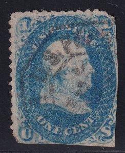 US STAMP #63 – 1861 1¢ Benjamin Franklin, blue faults
