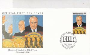 Marshall Islands 1990 Roosevelt Elected £rd Term Pic + Stamp FDC Cover Ref 32056
