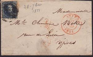 BELGIUM 1851 20c imperf on small lady's cover Anvers to Ypres...............7411