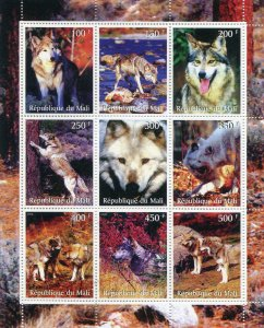 Mali 1998 WILD DOGS Sheet (9) Perforated Mint (NH)