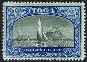 TONGA 1897 BOAT ON HARBOUR 2/- WMK TORTOISES SIDEWAYS