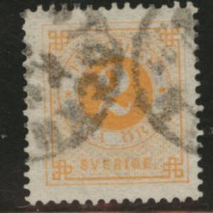 SWEDEN Scott 40 1886 Post Horn on back CV$7.50