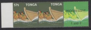 TONGA SG969a 1987 57s CANOE RACE VALUE OMITTED IN PAIR WITH NORMAL MNH