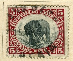 LIBERIA; 1896 early Pictorial issue fine used 5c. value