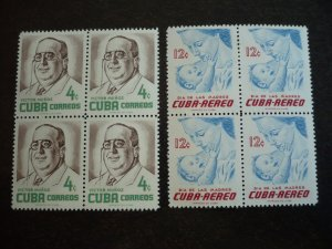 Stamps - Cuba - Scott#557,C134 - Mint Hinged Set of 2 Stamps in Blocks of 4