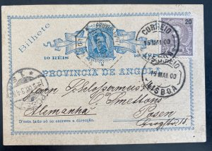 1900 Luanda Portuguese Angola Postal Stationery Postcard Cover To Posen Germany