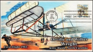 AO-C92, 1978, Wright Brothers,  Add-on Cachet, First Day Cover, SC C92,