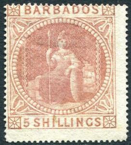 BARBADOS-1873 5/- Dull Rose Sg 64 centred high/left MOUNTED MINT V27813
