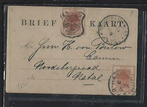 ORANGE FREE STATE COVER (P0612B) 1895  1/2D FANCY CAN ON PSC+ 1/2D TO NATAL