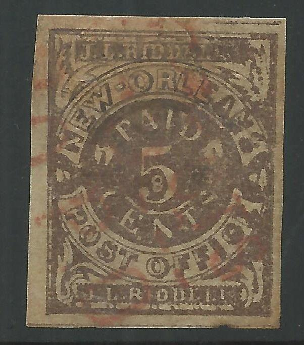 CSA Scott #62x3 Brown New Orleans 5c Used Provisional Stamp RED w/ CSA Cert