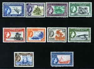 GILBERT & ELLICE ISLANDS QE II 1956 Pictorial Part Set SG 64 to SG 73 MNH