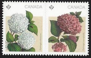 Canada #2900ii MNH se-tenant pair die cut, flowers hydrangeas, issued 2016