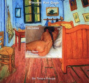 Sao Tome & Principe 2005 Van Gogh NUDE PAINTINGS s/s Perforated Mint (NH)