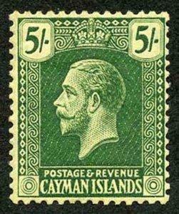 Cayman Is SG64c 5/- Deep green/orange-buff wmk Mult Crown CA m/m