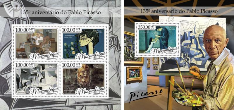 Mozambique Pablo Picasso Paintings Art MNH stamp set