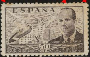 SPAIN Scott C112 MNH** airmail  1941 perf 10 toned