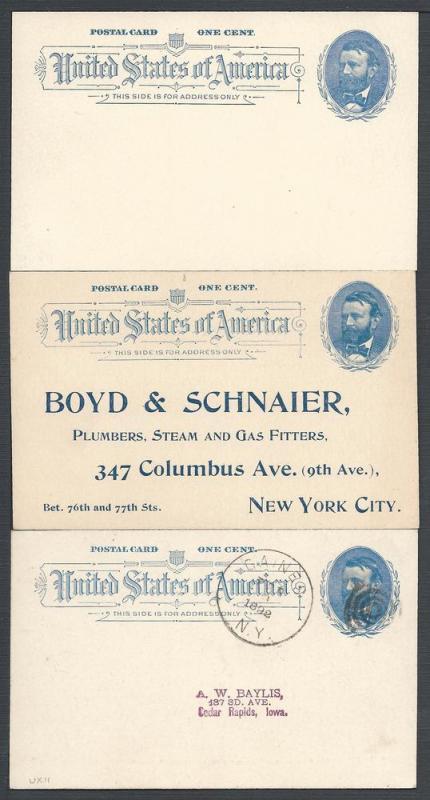 Scott UX11, three Cards, Postal Cards