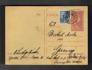 1943 Luvidek Ghetto Hungary Postcard Cover to Garany Judaica Andor Deutsch KZ