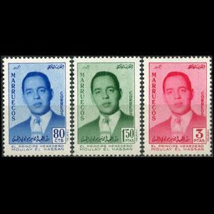 MOROCCO-NORTH ZONE 1957 - Scott# 18-20 Prince Set of 3 LH