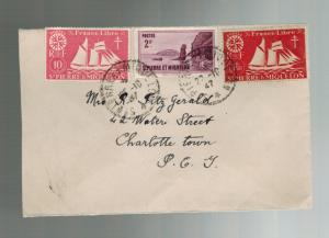 1947 St Pierre Miquelon cover to Charlottetown Canada