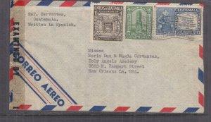 GUATEMALA, 1943 censored airmail cover, Guatemala City to USA, 1c., 3c., 15c.