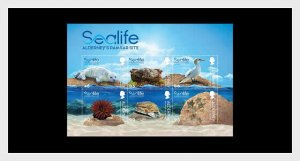 H01 Alderney 2020 Sealife in the Ramsar Area Pack Miniature Sheet