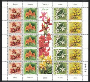 Serbia Orchids 4v Sheet of 5 sets SG#624-627