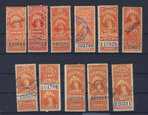 11xCanada Revenue Electric Light Stamps; #FE8 to FE17-$10. Guide Value = $52.50