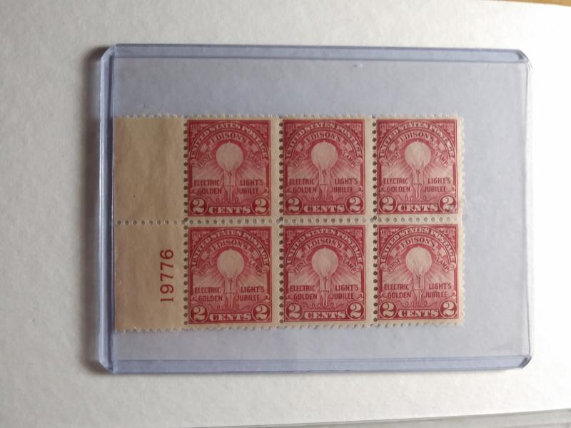 SCOTT # 654 PLATE BLOCK OF 6 MNH EDISON JUBILEE GREAT FIND !! VERY DESIRABLE !!!